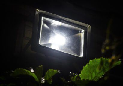 LED garden spotlight mounted on a building