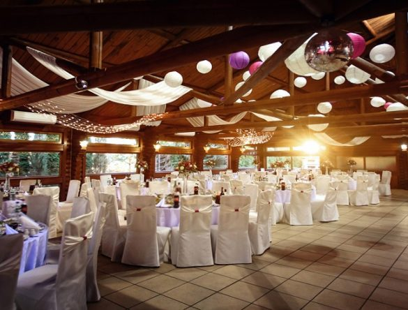 empty Wedding ceremony with white tables